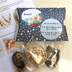 Make it yourself 3 necklaces gift kit- cream ceramic bird and wood beads