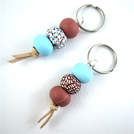 Make it yourself 2 keyrings kit-handcrafted polymer clay beads- turquoise/copper