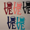 Set of 5 love word diecut embellishments