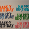 Set of 6 happy birthday diecut embellishment letters.
