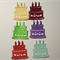 Set of 6 paper diecut embellishment birthday cakes.