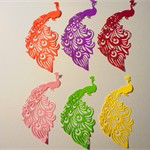 Set of 6 beautiful diecut peacock embellishments.
