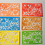 Set of 6 diecut embellishment fancy patterned card topper
