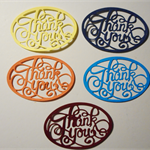 Set of 5 gorgeous oval thank you diecut embelishments