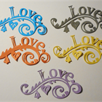 Set of 5 fancy decorative diecut embellishments love words