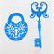Set of 6 gorgeous die cut key and lock embellishments, card making, scrapbooking
