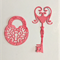 Die cut, 6 key and lock embellishments for card making, scrapbooking