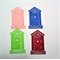 4 charming house die cut embellishments with opening door.