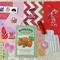 Red Pink Purple Mixed Media, Ephemera Craft Pack, Happy Mail Collage