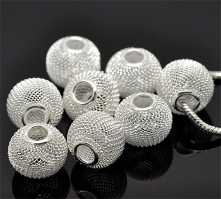 15 Silver Plated Mesh Beads