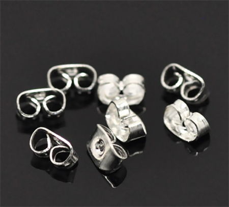 100 x Silver Plated Earring Back
