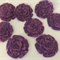 Purple Felt and Lace Flowers with Button Centre - Bag of 8 6cm each