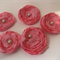 Handmade Organza Candy Pink Flowers with Pearl Centre - Bag of 6