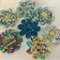 Floral Felt and Fabric Flowers with Button Centre - Bag of 7 6cm each