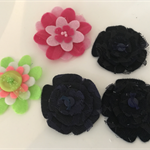 Navy Felt and Lace Flowers and Floral Felt Flowers with Button Centre - Bag of 5