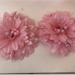 Pearl and Organza Pale Pink Flowers - Bag of 2 10cm