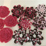 Hot Pink and Floral Felt, Lace and Fabric Flowers with Button Centre - Bag of 10