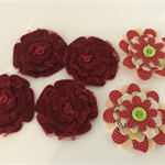 Red Felt, Lace and Fabric Flowers with Button Centre - Bag of 6 6cm each