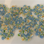 Floral Blue Felt and Fabric Flowers with Button Centre - Bag of 12 6cm each