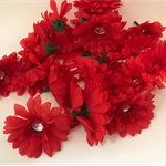 Red Daisies with Sequin Centre - Bag of 22 7cm each