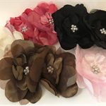 Organza Flowers with Pearl Centre - Bag of 8 10cm