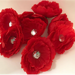 Red Flowers with Sequin Centre - Bag of 7 + 1 with Clip (8) 10cm each