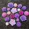 20pcs - Resin Flowers, Cabochons - Purple
