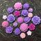 20pcs - Resin Flowers, Cabochons - Purple