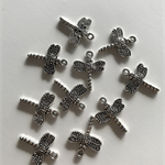 10 Charm Pendants Dragonfly Antique Silver
