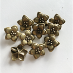 10 Charm Pendants Flower Antique Bronze