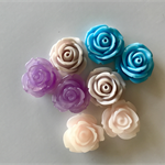 8 Resin Vintage Rose Cabochons