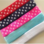 NEW 5 Soft Elastic Headbands- Polka Dot & Plains