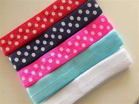 NEW 5 Soft Elastic Headbands- Polka Dot & Plains