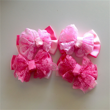 Satin and Lace Pretty Pink  Bows
