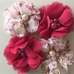 4 Chiffon Flower Rhinestone  Floral