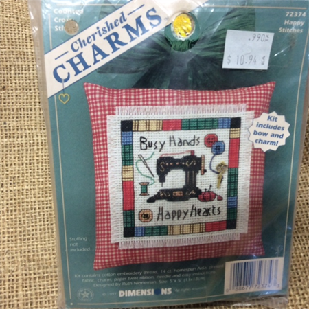 Cross Stitch Kit - Pincushion with Bow and Charm