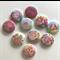 10 Vintage Rose Flat Back Buttons - Cabochons