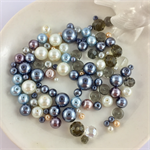 100 x glass pearl and crystal mixed beads - mix #1