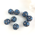 8 x handcrafted polymer clay beads in blue, white and black