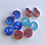 10 Printed Design Wooden Cabochons 5 pairs