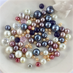 100 x glass pearl and crystal mixed beads - mix #6