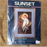 No Count Cross Stitch - Basketful of Flowers by Sunset