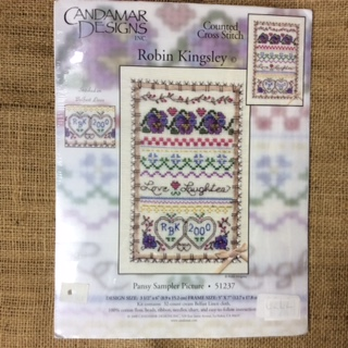 Counted Cross Stitch Pansy Sampler Picture