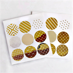Geometric Print {18} Gold Foil  Transparent Seals | Round Gold Stickers Seals