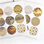 Japanese {54} Gold Foil Print Seals | Round Gold Stickers | Gold Envelope Seals