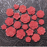 20pcs - Resin Flowers, Cabochons - Red