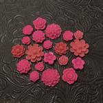 20pcs - Resin Flowers, Cabochons - Fuchsia