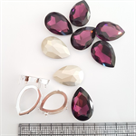 Amethyst Fancy Stone - Teardrop with Silver Clasp - 20x30mm