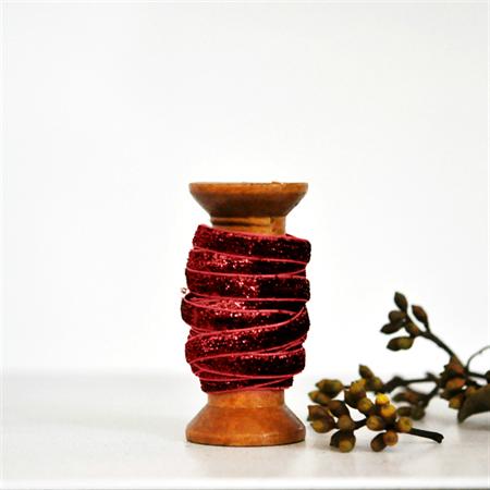 Claret Velvet Glitter Ribbon {5.0m} Sparkly Gift Ribbon | Glitter Gift Ribbon
