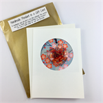 Glass pendant in a gift card- orange floral, Christmas, birthday, thank you
